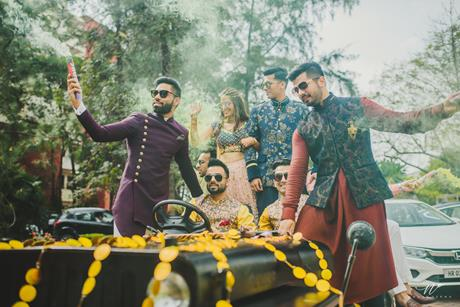 Abheshek & Smily | Chandigarh weddings | Groom and bride entry ideas | Vintage cars | Thar | Indian weddings | Mehendi entry ideas | Groomsmen | Smoke guns | Candid wedding pictures |