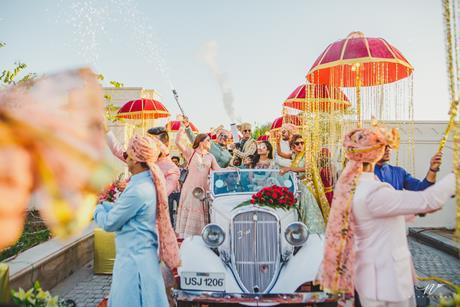 Abheshek & Smily   Chandigarh weddings   Groom entry ideas   Vintage cars   Indian weddings   Baraat ideas   Sabyasachi groom   Groomsmen   Smoke guns  
