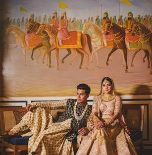Abheshek & Smily - A Chandigarh Wedding full of fun photo   Sabyasachi Sherwani   Groom photo ideas for indian wedings   couple shot ideas for weddings  n sabyasachi wedding   sabyasachi pastel pnk lehenga
