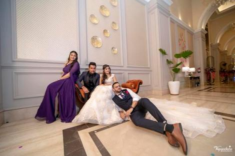 Noor and Akshay | Delhi Weddings | Indian brides | Engagement outfit ideas | Bridal Gowns | Gown with a trail | Cinderella | Photos with friends and Family |