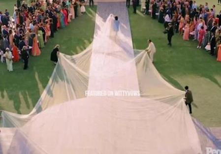 Priyanka Chopra and Nick Jonas Wedding   Custom Ralph Lauren gown with 70ft trail  