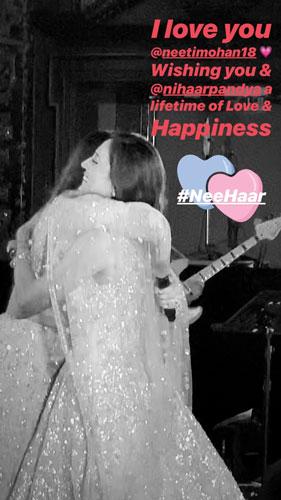Harshdeep hugging her bestie Neeti on her wedding
