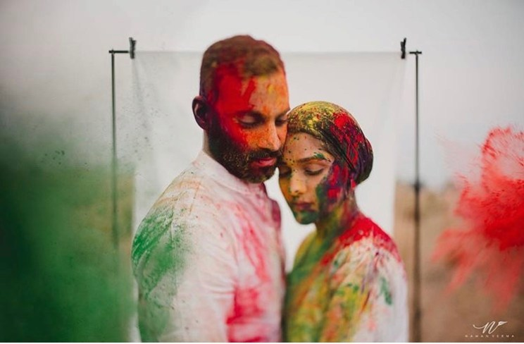 Couple Portraits | Holi Party | Post wedding Photo shoot | Couple Photoshoot | Portrait Photography | Newlyweds | First Holi after Wedding | Festivals | Gulaal | Colors