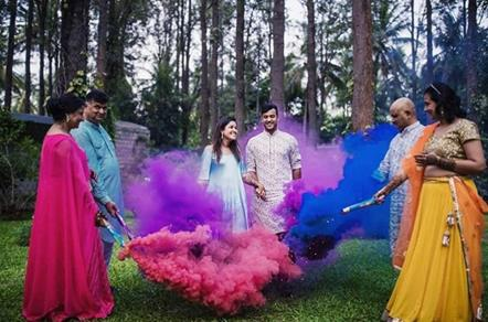 Smoke Bombs   Family Pictures   Post Wedding Photo shoot   Couple Photoshoot   Holi party   First Holi   Newlyweds   Couple goals   Holi Photoshoot   Smoke bombs Photography   Candid Photography  