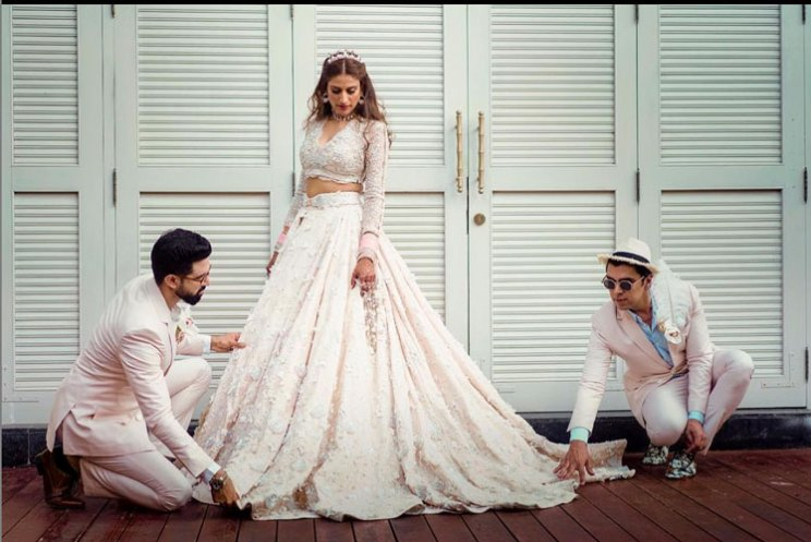 Kaabia Grewal's wedding feature | outhouse kaabia + rushang wedding in Vietnam in a white gown by Shivani and nareash