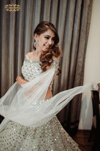 Indian actress Niti Taylor | Engagement outfit | Bridal potraits | Happy bridal potraits | Silver lehenga | Celebrity fashion
