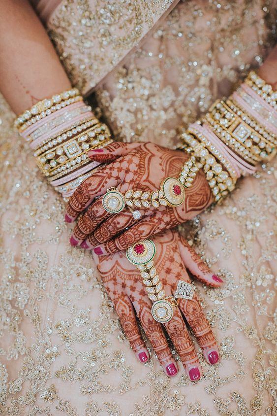 Light pink bangles paired | Kundan Jewels | Bridal Mehendi | Henna | Hathphool | Blush pink | Pretty | Indian bride