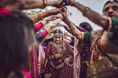 friends making a beautiful bridal entry for the Sabyasachi bride