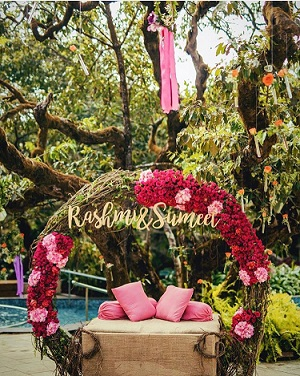 Wedding Decor | Add names to your QWedding | Floral Wreath | Mehndi Seat Area | Bridal Seat | Pool side Mehndi