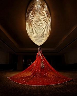Red Bridal Lehenga   Dupatta with trail   Trending new bridal fashion   indian Bridal wear   Designer details   Personalised
