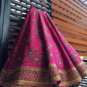 Pink Lhenga with gold zardosi embroidery   Extra Border and Patches   Indian bridal fashion   Bridal wear   Trending Now   Designer lehenga   Budget Brides