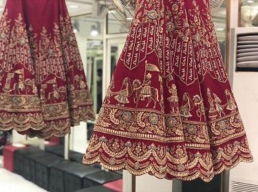Designer wedding Lehenga   Baraat Motif   Personalised   Details   Embroidery   Indian Brides