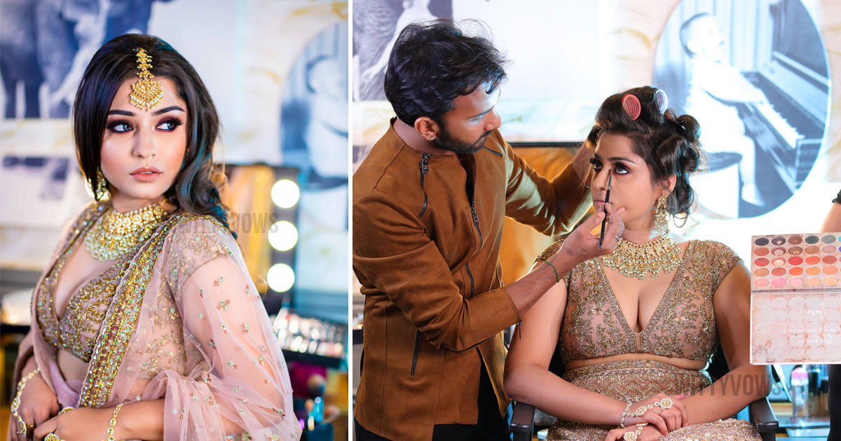 Wittyvows makeup masterclass in delhi studio Kelly bride in gold lehenga