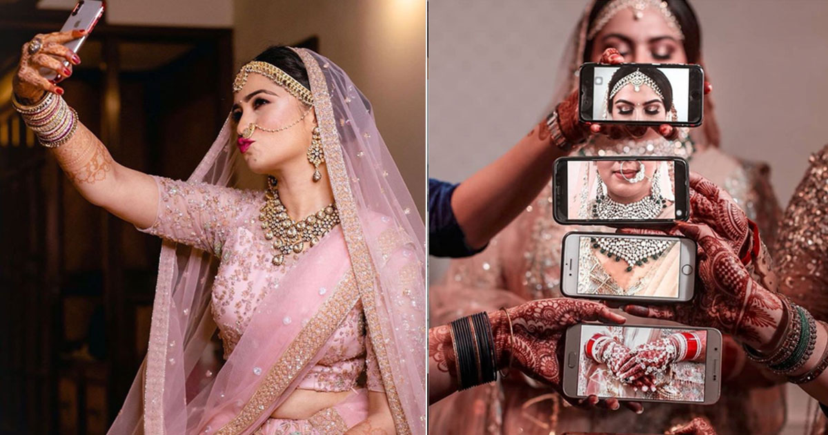 Indian bride taking selfie Indian bride using phone camera