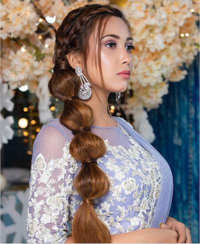 A jasmine inspired pony braid by Ritika hairstylist for your Diwali party hairstyles