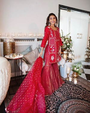 Red Gharara Suit | Miss Style Fiesta | Indian Outfits | Traditional attires | first Diwali after wedding | Newlwed | Outfit inspiration