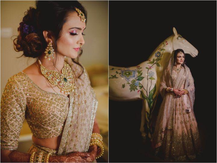 Bridal pose   Trending bridal lehengas details   Priyanka and Parth's dreamy wedding