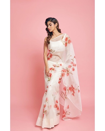 Mouni Roy in beautiful organza saree with floral prints | Naagin | Celebrity trends | Fashionista | Saree ideas |