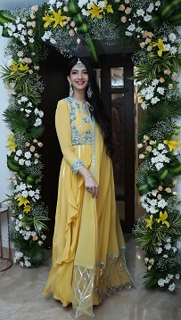 Yellow Anarkali suit with beautiful dupatta | Stunning indian Brides | Mumabi blogger | Blogger bride | Bride to be |