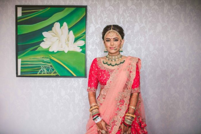 indian bridal lehenga color coordinated dupatta