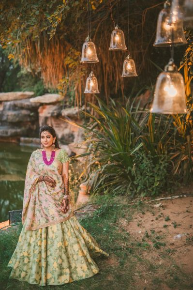 Gujrati Wedding with Sabyasachi Lehenga for Mehendi