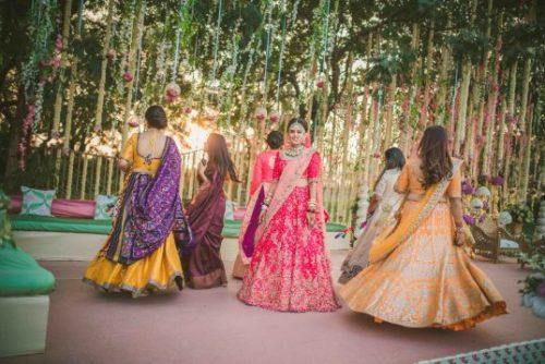 twirling bridesmaids   gujrati wedding photoshoot ideas