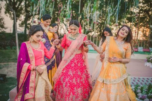 indian bride with hder beautiful bridesmaids   gujrati wedding photography