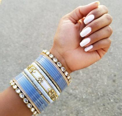 white manicure | indian bridal nails | nail art for indian brides | olden lehenga | silver bridal lehenga | latest bridal chooda designs and colours | blue chooda designs | blue chooda colour | wittyvows | #indianbride #indianbridalchooda #chooda #bluechooda #bridallehenga #wittyvows #bridesofwittyvows #indianbridalfashion #latestbridalchoodadesignsandcolours