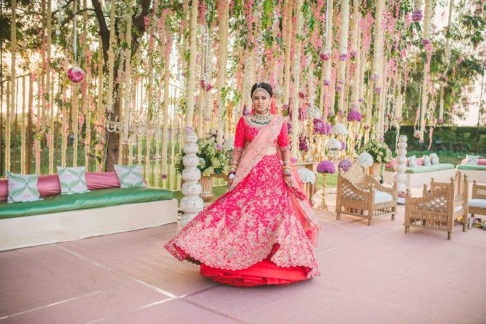 pink bridal lehenga Gujarati wedding