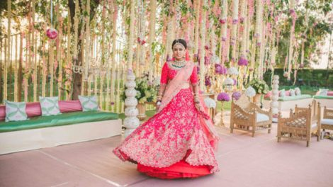 pink bridal lehenga Gujarati wedding