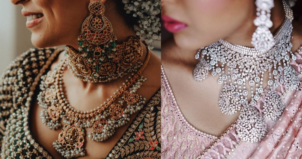 diamond necklace and Kundan bridal necklace   necklace trends for weddings