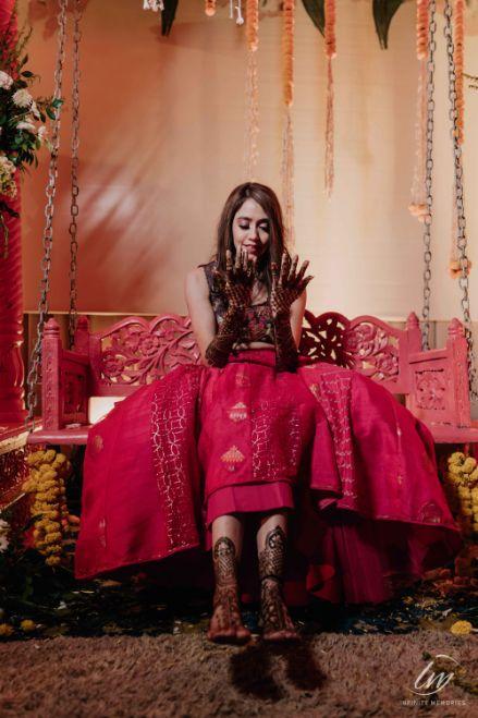 bridal mehendi seat   Prettiest Vintage Decor For Mehendi