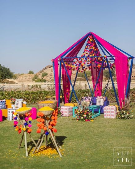 Indian wedding decoration ideas | colorful tent decor at Indian Weddings