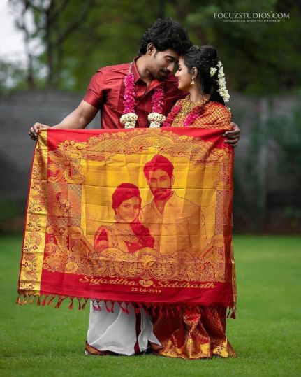 bridal saree with couple photo printed on it | Pre Wedding Photo Shoot - How to use photos in Wedding