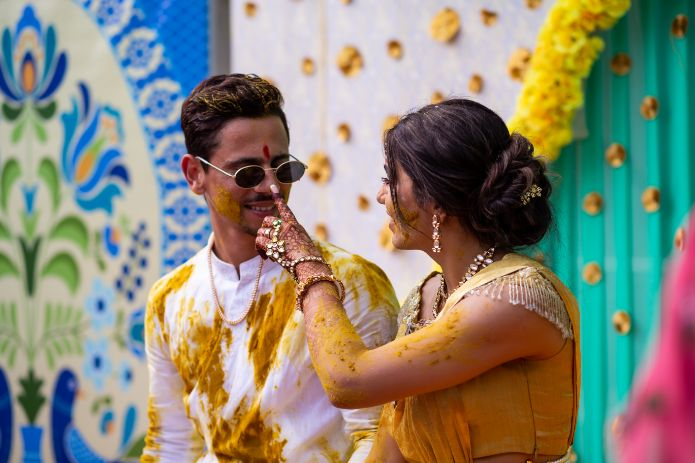 hiral and siddhesh at their haldi ceremony