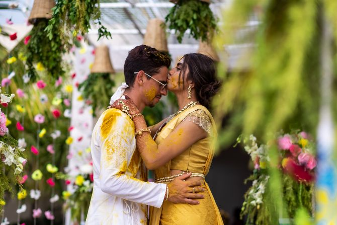 couple poses for indian wedding photography