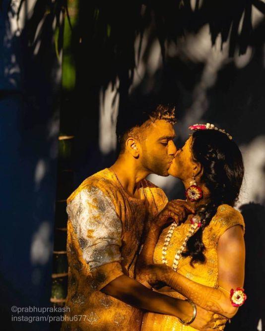 couple shot on haldi day | Wedding Trends for Haldi Ceremony