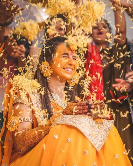 haldi day flower shower \ Wedding Trends for Haldi Ceremony