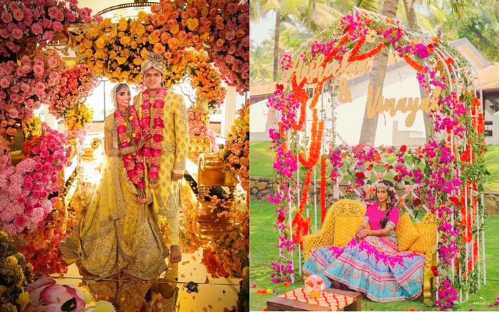 Stunning background floral decor | bridal swing for indian weddings