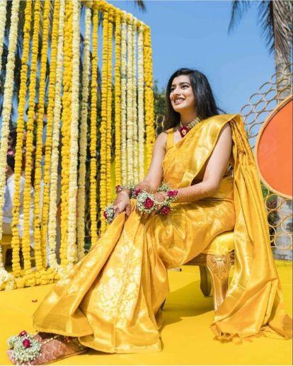 stunning saree for haldi day | Wedding Trends for Haldi Ceremony