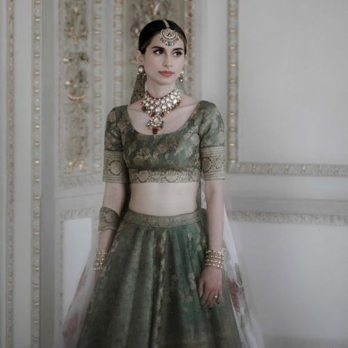 Brocade green lehanga for Indian Bride