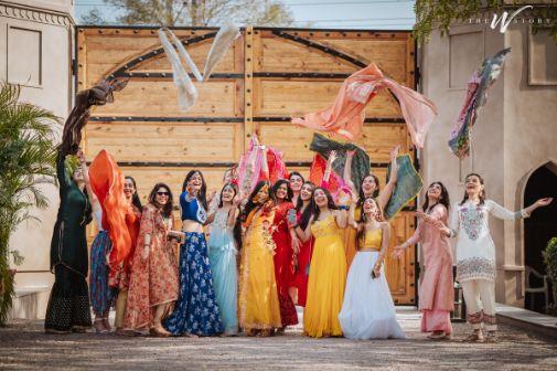 bridesmaids photo shoot on haldi ceremony | squad photoshoot goals