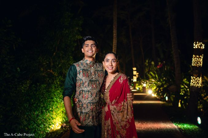 indian couple in boho clothes for their funcrtion
