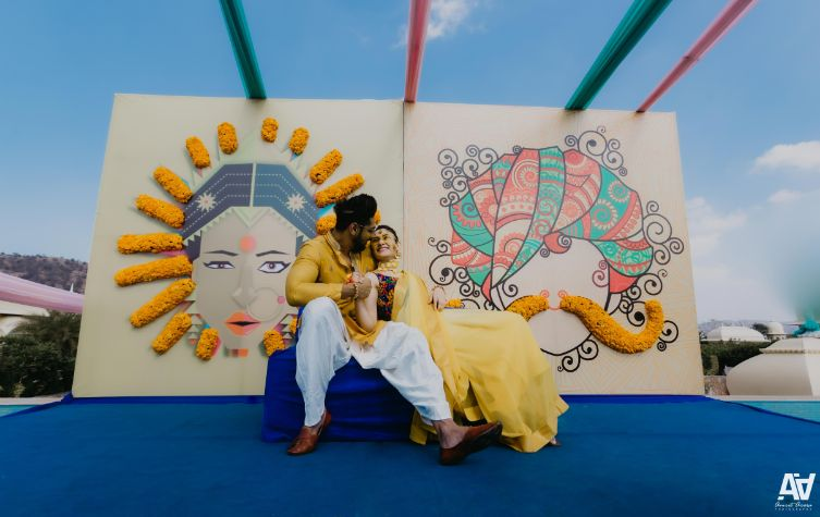 yellow for haldi ceremony | decor goals for haldi | Fab Matching Outfit Ideas