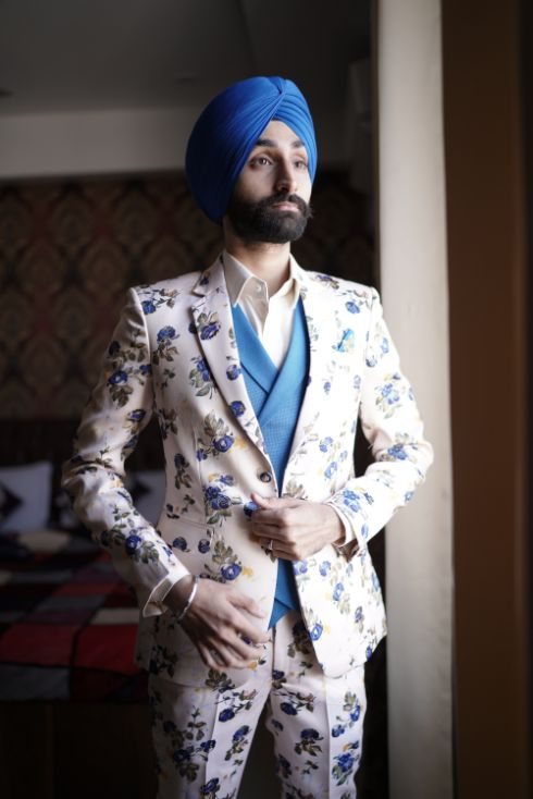 sikh groom | dapper printed outfit for the groom
