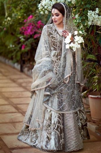 Silver/ Grey outfit for Muslim bride | Super Unique Sabyasachi Lehengas