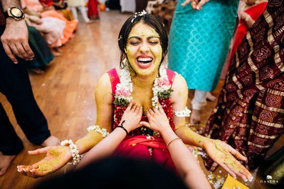 Indian bride at her haldi ceremony