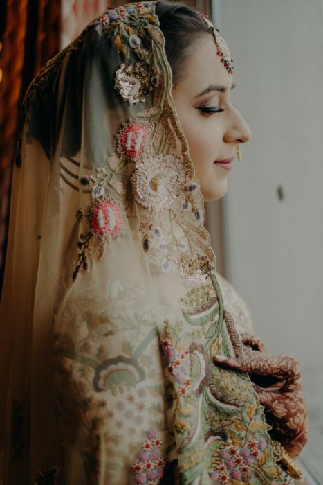 Bridal portraits that are must have | Rimple & Harpreet Wedding Lehenga