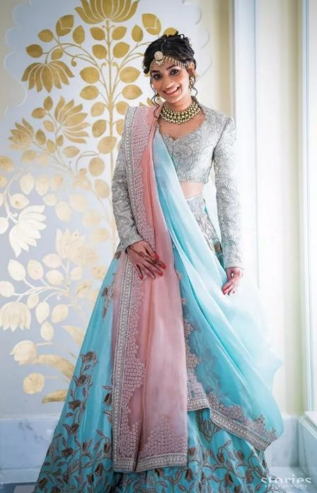 india wedding lehenga styles for indian bridesmaid | blue lehnga designs #wittyvows #indianwedding #indianbridesmiad #lehenga #bluelehenga #lehengadesigns #trendinglehenga #weddings #indianwedding2020