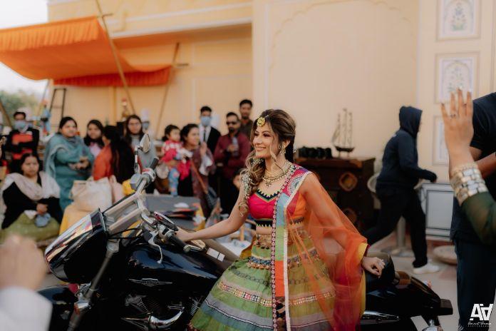 indian bride on her mehendi ceremony